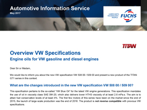 FUCHS_Overview VW Specifications